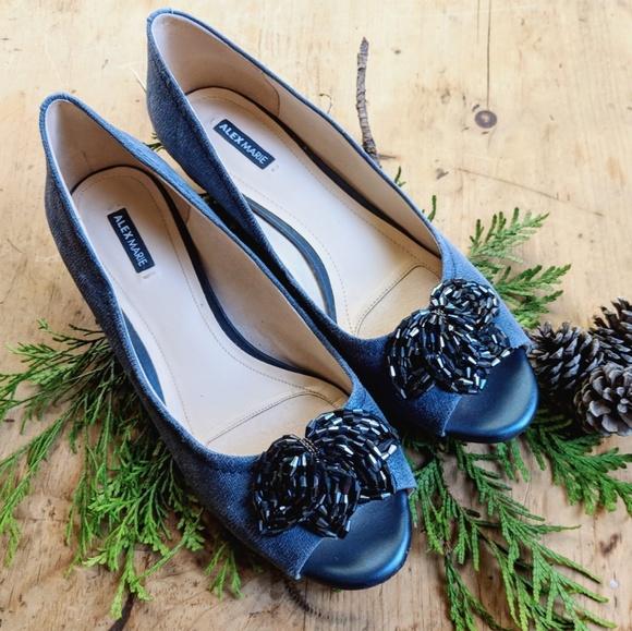 66ecf3daa114e Alex Marie Shoes - ⬇ Alex Marie Blue Peep Toe Wedge Size 9M